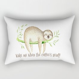 Sloth and Coffee Quote Rectangular Pillow