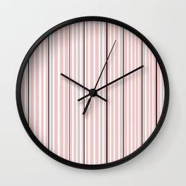 Pink Stripes & Black Wall Clock
