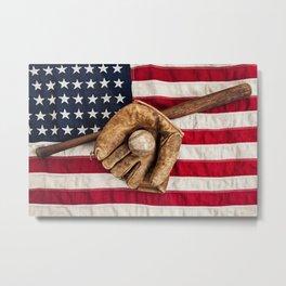 Vintage American Baseball Metal Print