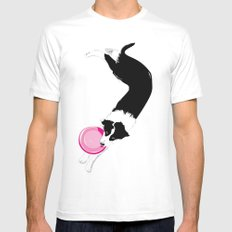 Disc Dog - Border Collie MEDIUM White Mens Fitted Tee
