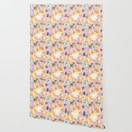 Hand painted pink ivory orange teal watercolor floral Wallpaper