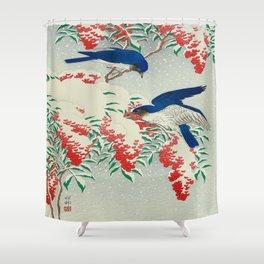 Ohara Koson Birds In Snow Japanese Woodblock Print Vintage Historical Japanese Art Shower Curtain