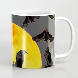 GREY HALLOWEEN BAT MIGRATION TO  MOON ART Coffee Mug