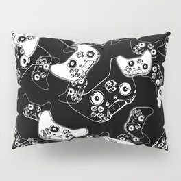 Video Game White on Black Pillow Sham