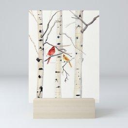 Birch Trees and Cardinal Mini Art Print