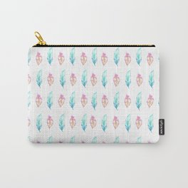 Bohemian teal aqua pink hand painted feathers Carry-All Pouch