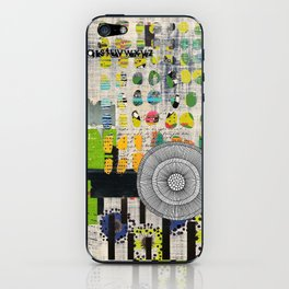 Lime & Navy Abstract Art Collage iPhone Skin