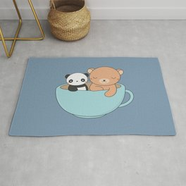 Kawaii Cute Brown Bear and Panda Rug