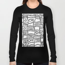 Fishes and Shells - Tribal Style Doodle Long Sleeve T-shirt