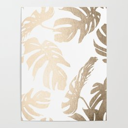 Simply Tropical Palm Leaves in White Gold Sands Poster