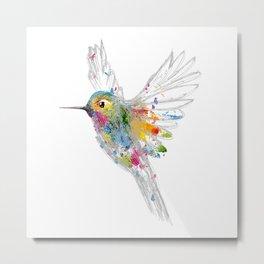 Hummingbird Watercolor Graffiti Metal Print