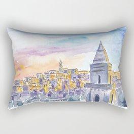 Matera Basilicata Italy Sassi Sunset Rectangular Pillow