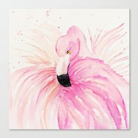 flamingo Canvas Prints featuring FLAMINGO by Monika Strigel