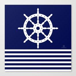 AFE Navy & White Helm Wheel Canvas Print