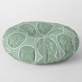 Grisaille Fern Green Neo-Classical Ovals Floor Pillow