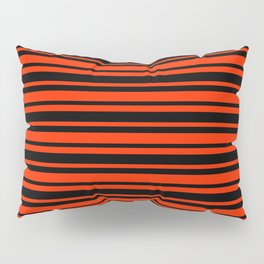 Bright Red and Black Horizontal Var Size Stripes Pillow Sham