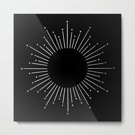 Sunburst Moonlight Silver on Black Metal Print