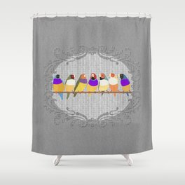 Lady Gouldian Finches Shower Curtain