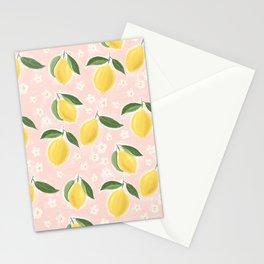Lemons on pink Stationery Cards