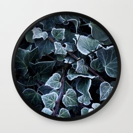Hoarfrost Ivy Leaves Wall Clock