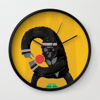 king Wall Clocks featuring King Kong Ping Pong by Wharton