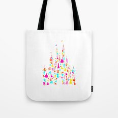 Custom colors multicolored castle characters Tote Bag