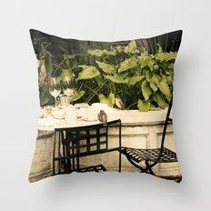 Dining Sparrows Throw Pillow