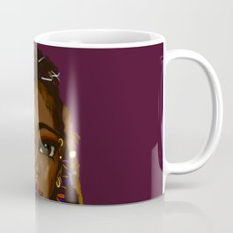 Loc'd Goddess Version 2 on Deep Plum Background Coffee Mug