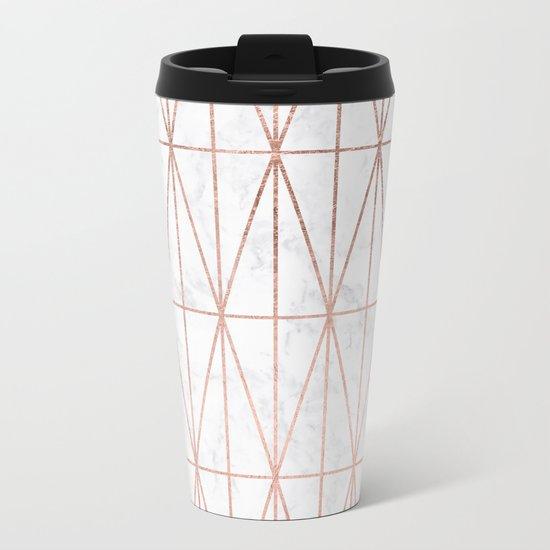 Modern geometric triangles faux rose gold pattern on white marble Metal Travel Mug