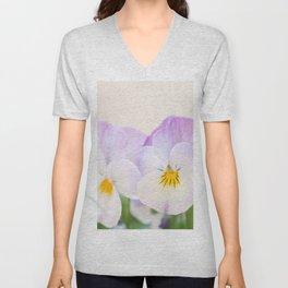 Spring Love #1 - Soft violet-white Pansies #decor #art #society6 Unisex V-Neck