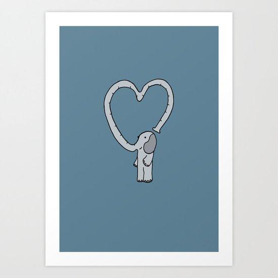 Valentine Day Elephant Art Print