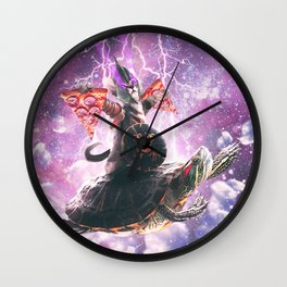 Lazer Warrior Space Cat Riding Turtle With Pizza Wall Clock