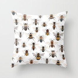 A Collection of Native Bees Throw Pillow