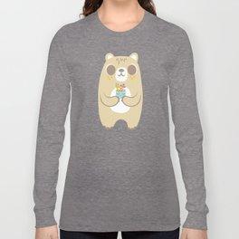 Cute Bear Holding a Plant Long Sleeve T-shirt