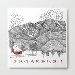 Sugarbush Vermont Serious Fun for Skiers- Zentangle Illustration Metal Print