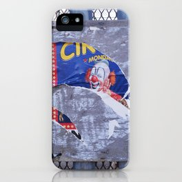 ripped clown circus poster texture iPhone Case