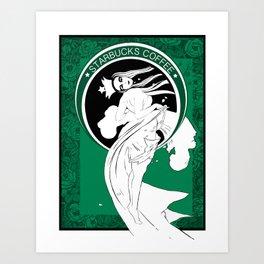 Starbucks Coffee Inspired Art Nouveau Art Print