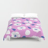 cherry blossoms Duvet Covers featuring Cherry blossoms by Anneline Sophia