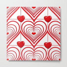 0PTICAL ART  RED VALENTINES HEARTS IN HEARTS RED DESIGN Metal Print