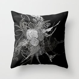 50 shades of lace Grey Silver Black Throw Pillow