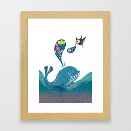 A whale and a puffin Framed Art Print