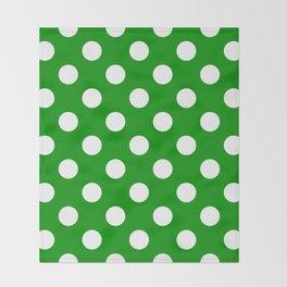 Islamic green - green - White Polka Dots - Pois Pattern Throw Blanket