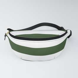Large Dark Forest Green and White Cabana Tent Stripes Fanny Pack