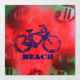 Beach Bike - Signed Robert R Print Canvas Print