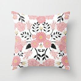 Pink, White, Black, Blue & Yellow Elegant Floral Pattern Throw Pillow