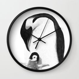 Black and White Penguins Wall Clock