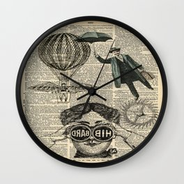 newspaper print dictionary page binoculars hot air balloon victorian steampunk Wall Clock