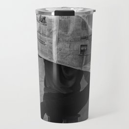 News on Fire (Baclk and White) Travel Mug