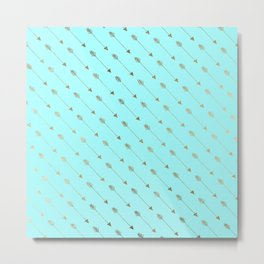 Modern teal faux gold bohemian chic arrow pattern Metal Print
