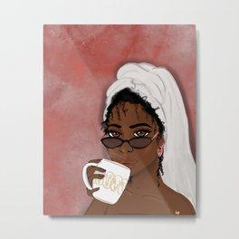 Sips Tea Metal Print